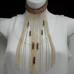 Collared Fringe Statement Necklace Colored Beads